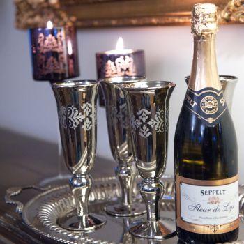 Set of 6 Champagne Glasses Vintage Glassware