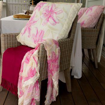 Lilly Floral Chiffon Topper 110x110cm