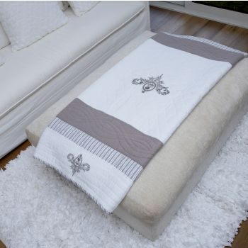 Olesya Embroidered Coverlet Throw
